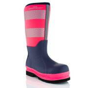 Brightboot High Leg Waterproof Safety Boots Pink / Navy