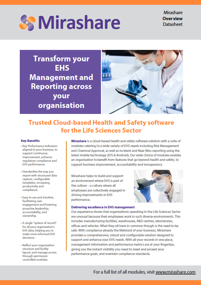 Trusted Cloud Based Health and Safety for the Life Sciences Sector